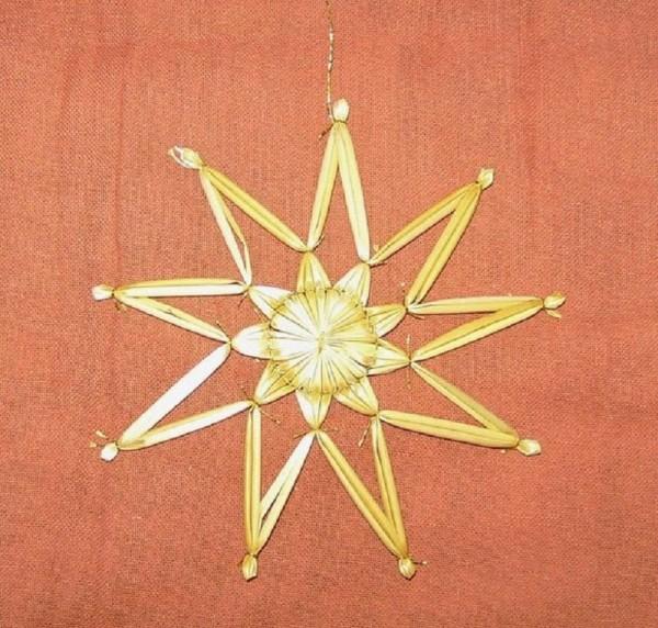 Strohstern 12cm Stern mit Goldfaden, Stroh Baumschmuck
