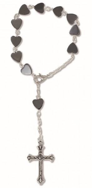 10er-Rosenkranz gekettelt, Metallperlen in Herzform