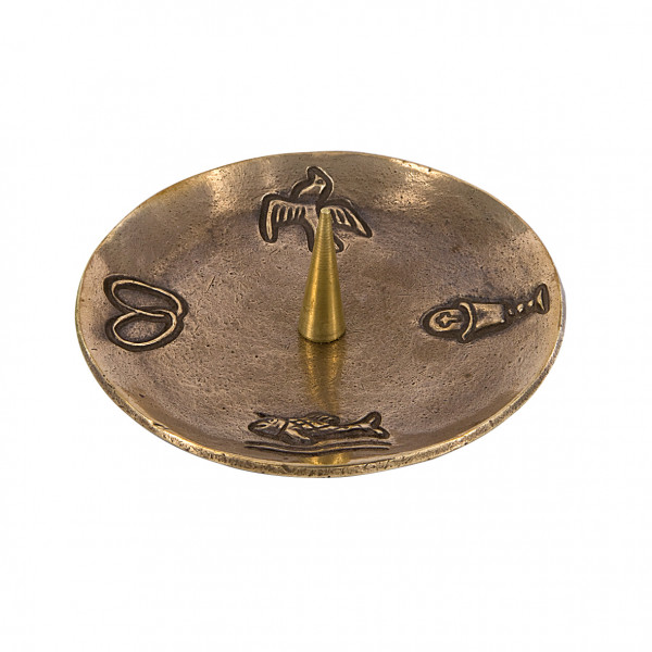 Bronzeleuchter 4 Symbole für Kerzen bis 50mm D