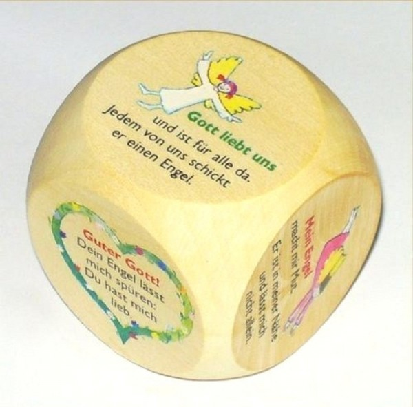 Gebetswürfel, Holz Würfel mit Engeltexte, Devotionalien