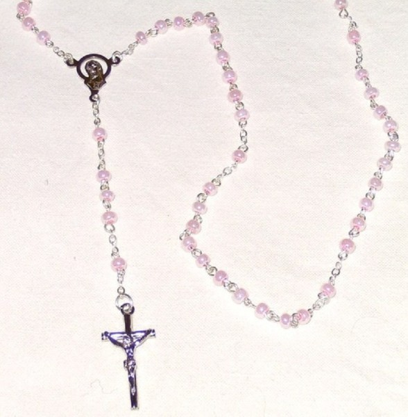 Rosenkranz gekettelt, mit rosa Perlen, Devotionalien