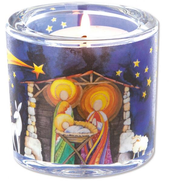 LichtMoment Glaswindlicht - Weihnachten, Krippe