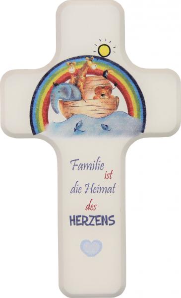 Kinderkreuz Holz weiß, Motiv Familie ist die Heimat.