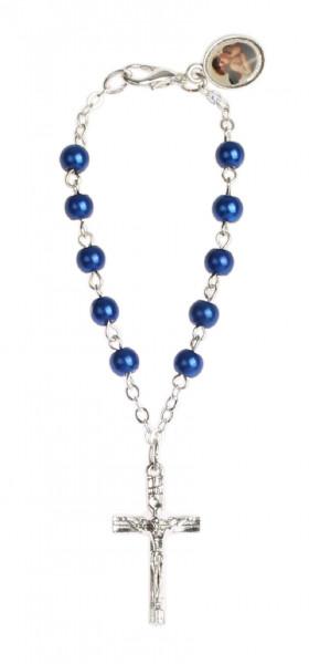 Zehnerrosenkranz - Lithopal blau, Schutzengel Anh.