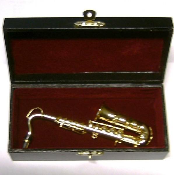 Deko Miiniatur Saxophon 12cm, aus Metall, mit Koffer