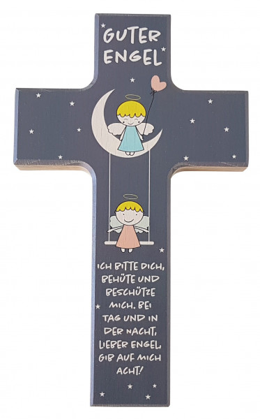 Kinderkreuz Holz, Engel auf Mond+Schaukel