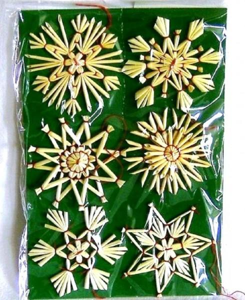 6 St. Strohsterne 6cm, Christbaumschmuck aus Stroh