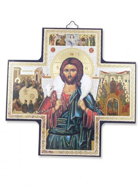 Ikone guter Hirte auf Holzplatte 15 x 15 cm 04/47