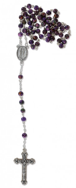 Rosenkranz gekettelt - mit violette Glasperlen