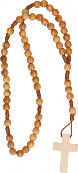 Rosenkranz geknüpft - braune Holzperlen, Holzkreuz