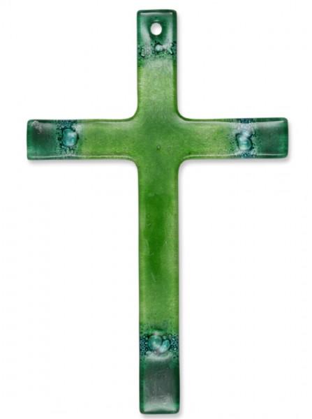 Glaskreuz grün, Ecken dunkelgrün, Kreuz 14x9cm