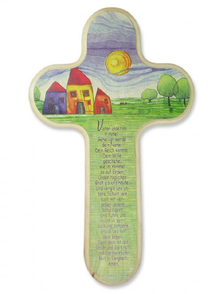 Kinderkreuz Holz abgerundet m. Gebet Vater unser