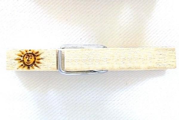 Wiesnglupperl Holzklammer mit Motiv Sonne, einseitig