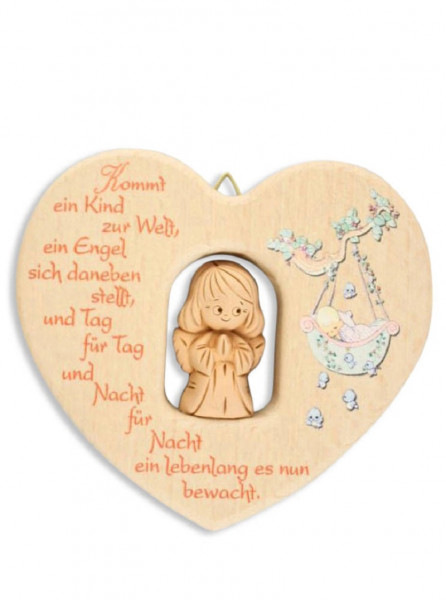 Herz aus Holz mit Tonengel, natur Kommt ein Kind