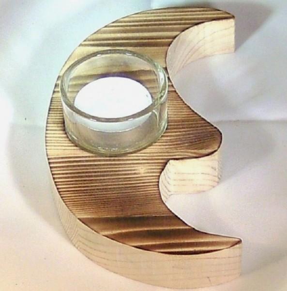 Teelichthalter Mond aus Holz, Tischdeko im Landhausstil