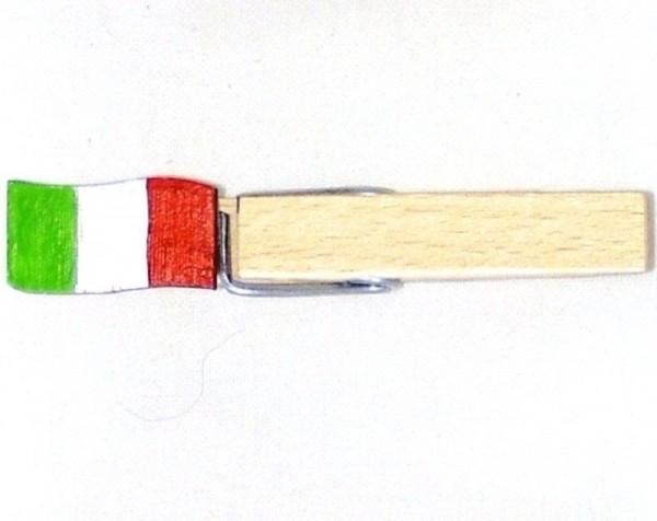 Holzklammer mit Flagge, Fahne Italien, Holzapplikation