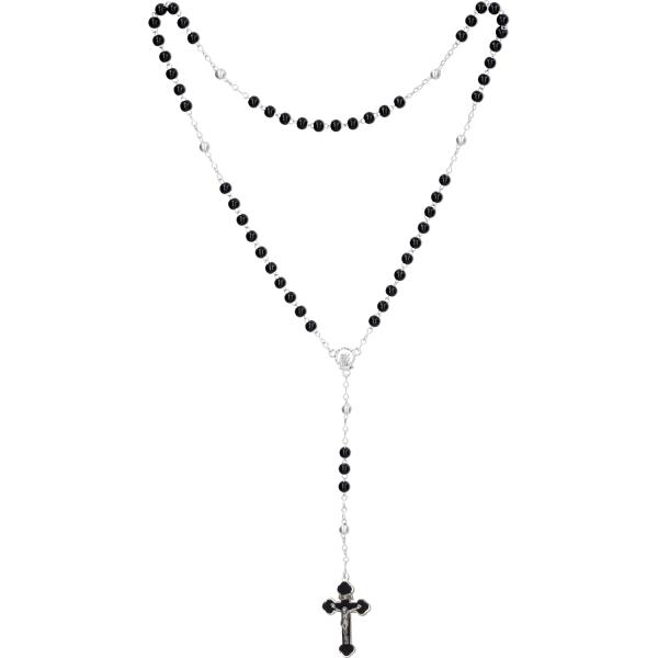 Rosenkranz lang - Holzperlen, schwarz - gekettelt