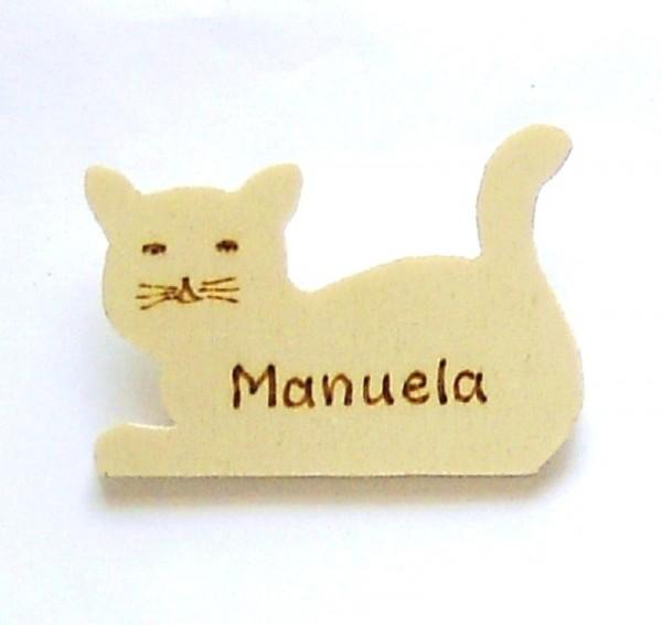 Anstecknadel Holz Namenskarte, Katze Pin 7x5cm mit Beschriftung
