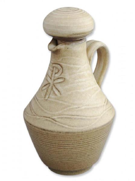 Weihwasserkrug Ton beige handgetöpfert PX 250ml