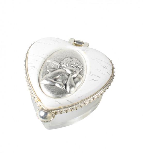 Rosenkranzdose Herz transparent-weiß, Engel