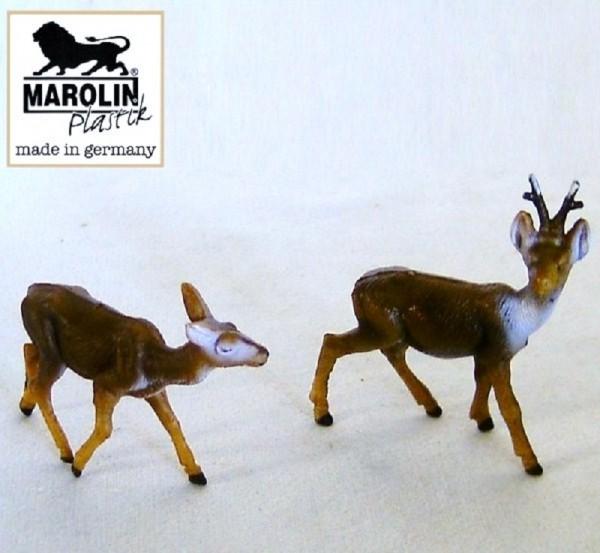 Reh und Rehbock stehend Marolin Plastik Sammelfiguren