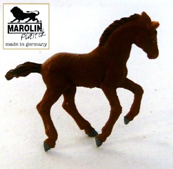 Tierfigur Pferd Fohlen braun Marolin Plastik Sammelfigur