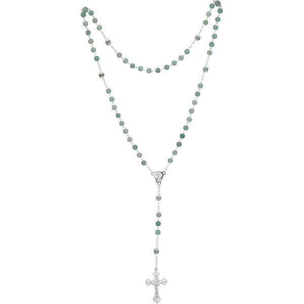 Rosenkranz lang - Aventurin grün, gekettelt