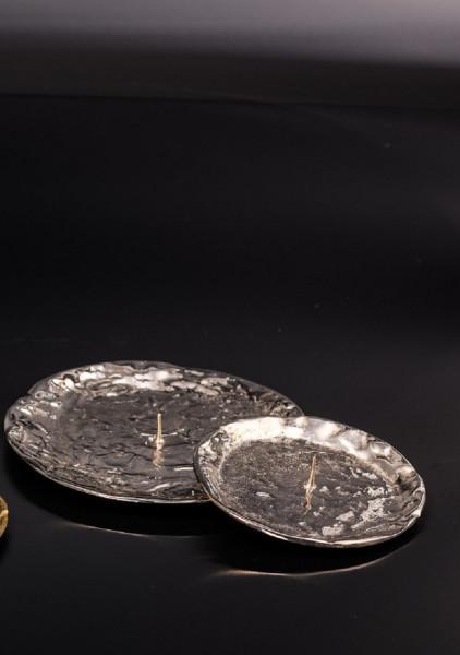 Kerzenteller Messing-vernickelt mit Dorn, rund