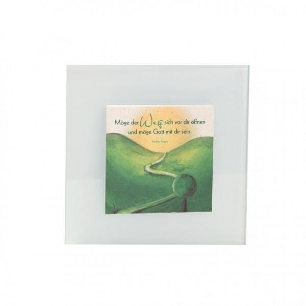 Natursteinrelief - auf Mattglas mit Motiv, Weg
