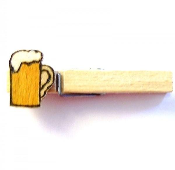 Holzklammer mit Applikation Bierkrug aus Holz groß