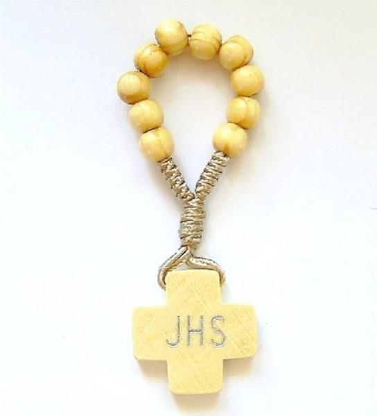 Gebetsring, Fingerrosenkranz, hell, JHS, Devotionalien