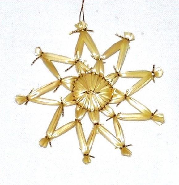 Strohstern 6cm Stern mit Goldfaden, Stroh Baumschmuck