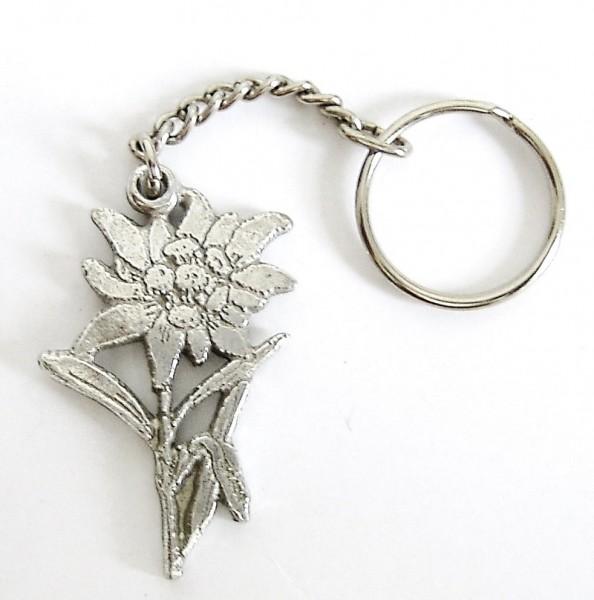 Schlüsselanhänger mit Edelweiss aus Zinn
