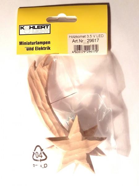 Holzkomet 12cm natur mit Beleuchtung 3,5V LED Licht