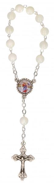 10er-Rosenkranz - weiße Glasperlen mit Christophorus-Plakette