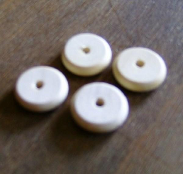 4 Stück Miniatur Scheibenräder aus Holz, Krippenzubehör