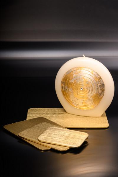 Kerzenteller Alu gold, Unterseite mit Filzgleiter, rechteckig