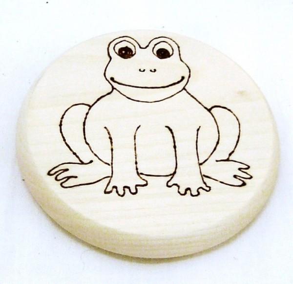 Bierdeckel aus Holz, Brandmalerei Motiv Frosch