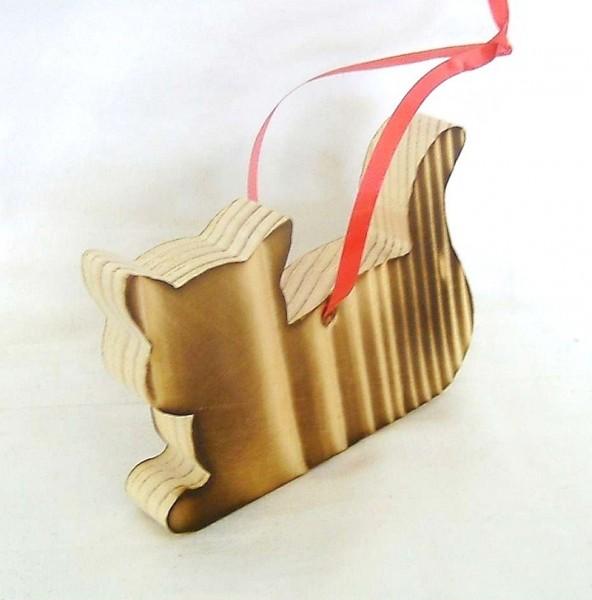 Baumaufhänger Katze liegend, Christbaumschmuck Holz