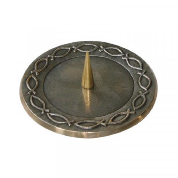 Bronzeleuchter Fisch für Kerzen bis 70mm D