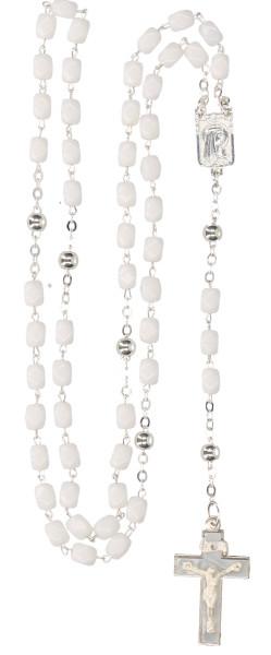 Rosenkranz gekettelt - weiße Glasperlen, 49149