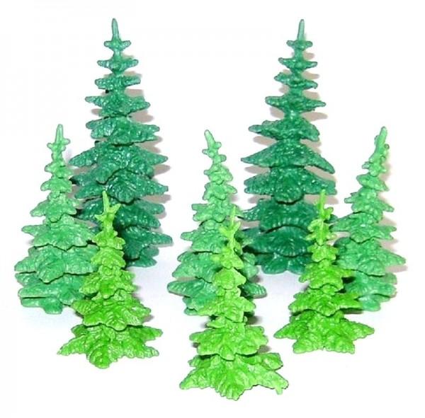 Tannen Baum Set 8-teilig aus Plastik, Miniatur, Modellbau