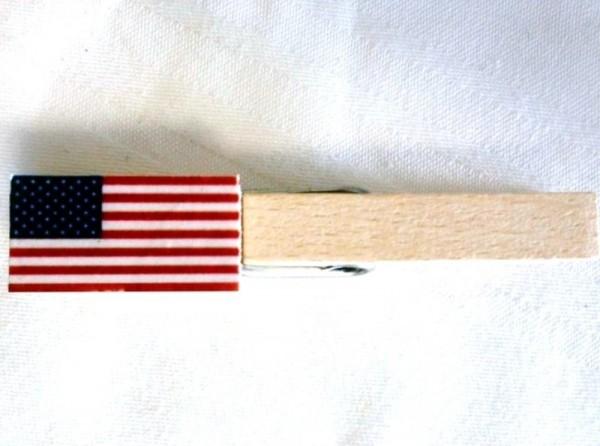 Holzklammer mit Flagge USA, Holzapplikation