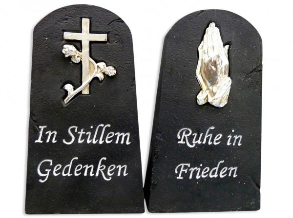 Grabschmuck-Stein schwarz mit Symbole und Text