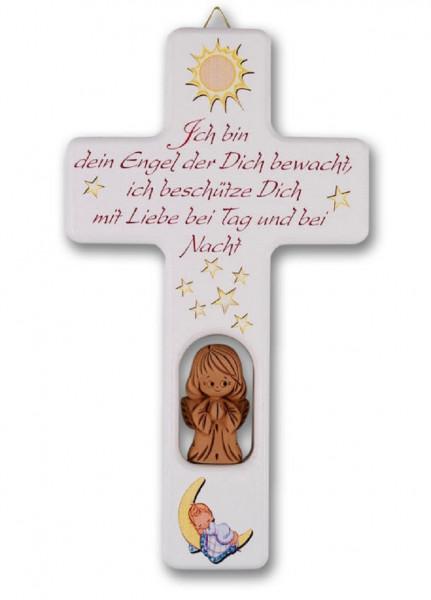 Kinderkreuz Holz Tonengel, weiß, ich bin dein Engel