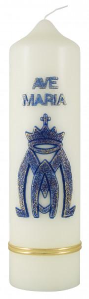 Marienkerze Ave Maria blau, Kerze-Eierschale 22x6