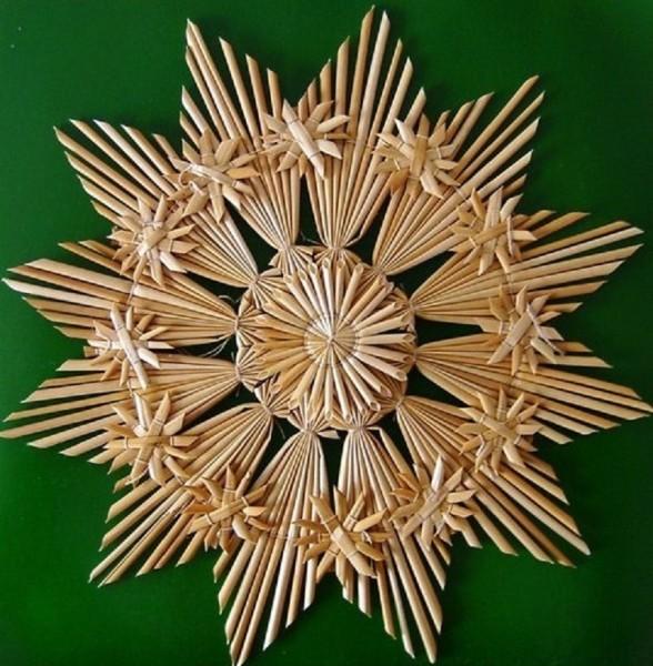 Großer Strohstern 27cm Stern, Fensterdeko aus Stroh