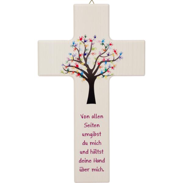 Kinderkreuz Holz, natur, Lebensbaum-Kinderhände 15 x 9cm