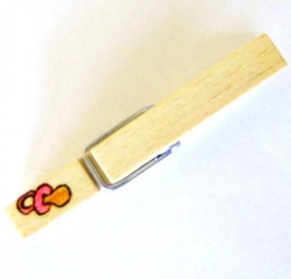 Holzklammer mit Motiv Schnuller, einseitig