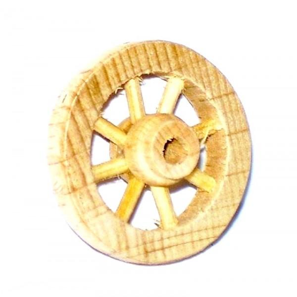 Miniatur Wagenrad aus Holz, Krippenzubehör